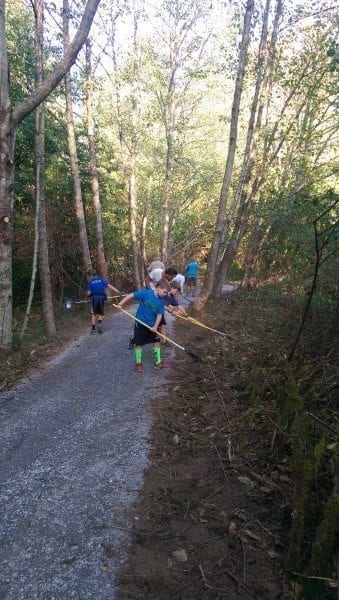 Led by the Boy Scouts! (trail work was nothing after their 50 mile backpacking trip)